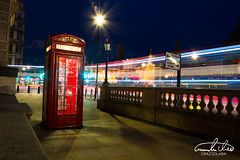 London Telephone Box in traffic (Theo Crazzolara) Tags: telephone box telephonebox london city traffic longexposure night cars lights colourful vivid red uk eu europe old great britain beautiful england fridaynight tourism highlight mobile communication technic business technique calling palaceofwestminster westminster architecture