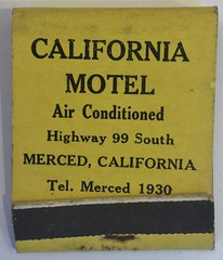 CALIFORNIA MOTEL MERCED CALIF (ussiwojima) Tags: californiamotel motel merced california advertising matchbook matchcover