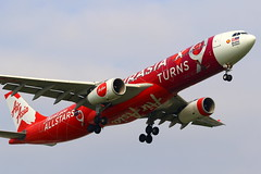 """AirAsia X  Airbus A330-343 """"AirAsia X Turns 9"""" Livery 9M-XXA (Manuel Negrerie) Tags: 9mxxa airasiax airasia livery design a330 jetliner airliner aviation spotting flying skies plane taoyuanairport canon graphic travel malaysia transport photography rollsroyce cf6 engines"""