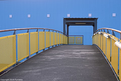 6 squares & 29 perforated sheets (Furcletta) Tags: architecture building construction daylight material steel modernarchitecture nikond800 outdoor places europe switzerland basel che reallyrightstuff rrsbh30 rrstqc14 urban openhousebasle structures basle bs tarmce yellow bluew grey 6 29 bridge railings