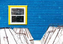 Yellow Trim (Karen_Chappell) Tags: house yellow blue white snow snowy snowing weather window shed nfld pettyharbour newfoundland fishinggear traps winter january avalonpeninsula atlanticcanada canada eastcoast architecture building paint painted wood wooden trim clapboard
