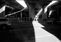 Under The Bridge (Tracy Clayton) Tags: kodaktrix400 leicam6 seattle streetphotography film 35mm 35mmsummicron leica rangefinder plustekopticfilm8100 blackandwhite bw monochrome bridge