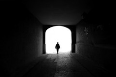 (cherco) Tags: light solitario solitary silhouette silueta shadow blackandwhite blancoynegro tunnel man lonely sombra street solo sombras alone architecture arquitectura arch markiii tunel puerta composition canon city ciudad perspectiva perspective