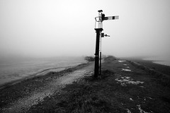 The Loneliest Signal (Puckpics) Tags: signal semaphore haylingisland puffingbilly railbed haylingislandline disused abandoned lonely monochrome bw history beeching railway