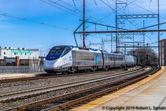 Amtrak 2010 on 2155, Wilmington, 2019-02-14 (redheadedrobbie1) Tags: amtrak nec northeastcorridor acela acelaexpress alstom bombardier railroad railfan passenger electric catenary