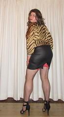 tiger, wetlook and fishnet stockings (Barb78ara) Tags: stockings stockingtops highheels stilettoheels sandals stilettosandals fishnets fishnetsstockings seams seamedstockings seamedfishnets tigerprint tigertop animalprint wetlook wetlookskirt slit
