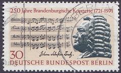 Deutsche Briefmarken (micky the pixel) Tags: briefmarke stamp ephemera deutschland bundespost berlin musik music johannsebastianbach musiker komponist kantor zweitesbrandenburgischeskonzert notenblatt