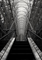 Escalator (RestlessFiona) Tags: torontocanada escalator mono blackandwhite 19thmay2019 restlessfiona symmetry
