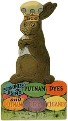 Easter Bunny Greetings from Putnam Dyes, ca. 1910s (Alan Mays) Tags: ephemera advertisingcards advertising advertisements ads greetingcards greetings cards eastercards diecuts illustrations paper printed easter holidays rabbits bunnies animals eggs crowns anthropomorphic anthropomorphism putnam putnamdyes dyes putnamdrycleaner drycleaners drycleaning brown blue green yellow frankpallen shanks wv wva westvirginia 1910s antique old vintage typefaces type typography fonts