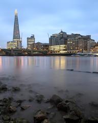 Low Tide Rocks (JH Images.co.uk) Tags: london city skyline riverthames river night sky cloudy shard bridge lowtide reflection hdr dri rocks