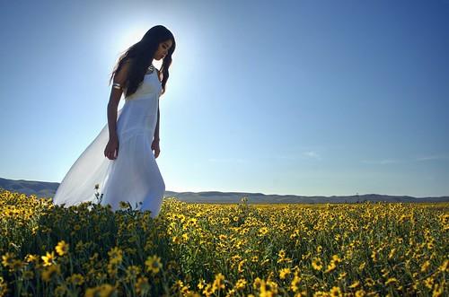 Walking in the flower fields