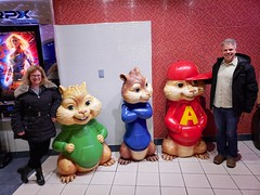 With The Chipmunks (Joe Shlabotnik) Tags: astoria theater queens peter 2018 statue sue december2018 chipmunks galaxys9 cameraphone