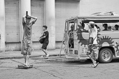 Relaxed (Beegee49) Tags: street barker posing relaxed jeepney transport public so sony a6000 white black monochrome bw luminar happyplanet bacolod city philippines asia asiafavorites