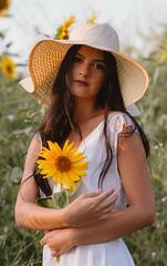 Sunflower (sylwia_kimla) Tags: sunflowers sunflower flower girl portait summer samyang85mm samyang85 samyang