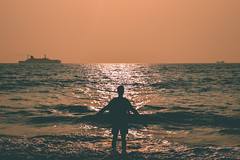 Sun chaser (landscape) (nahinmiah93) Tags: beach boat sea sky sunset people peaceful nature beautiful goa sand scene india vacation sunny seaside coast shore
