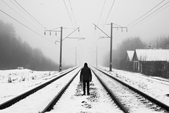 Way (cekic photography) Tags: railway alone abandoned klevan ukraine blackandwhite photography photographers photojournalism melancholy monochorme village artofvisuals travel train travelphotography winter snowyday landscape flickr natgeo fujifilmxt1 photojournalist wallpaper blacknwhite bnw way
