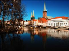 Hanseatic city of Lübeck - View of the old town (Ostseetroll) Tags: deu deutschland geo:lat=5386411244 geo:lon=1067991111 geotagged lübeck schleswigholstein hansestadt marienkirche petrikirche trave spiegelungen reflections olympus em10markii