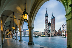 Krakow Market Square (Michael Lloyd - Media Guy) Tags: clothhall krakow lantern gothicstyle history blue shiny famousplace architecture tourist europe museum cathedral church street tower town marys