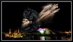FireworksAndDragon_9107 (bjarne.winkler) Tags: the dragon version 2018 new year fireworks over sacramento river california tower bridge pyramid ziggurat building delta king