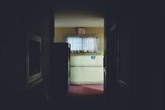 mimesis. (jonathancastellino) Tags: set series hallway hotel motel mimesis leica q machine vending curtain curtains window exit sign shadow hall