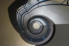 winding upwards (Elbmaedchen) Tags: rund curves lines stairwell staircase escaliers escaleras hamburg roundandround interior upanddownstairs helix spirale spiral architektur architecture