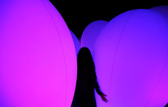 (cherco) Tags: woman japan tokyo eggs solitario solitary silhouette silueta composition composicion canon city ciudad color chica colour irreal markiii magic lonely light luz loner lantern lampara museum mujer purple future digitalartmuseum happyplanet asiafavorites