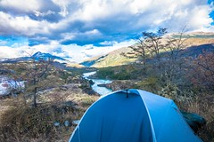 Our sweet camping spot above the confluence of the Baker and Nef rivers in Chile along the Carretera Austral.