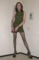 Green dress. (sabine57) Tags: crossdressing transvestism crossdress crossdresser cd tgirl tranny transgender transvestite tv travestie drag pumps highheels pantyhose tights patternedpantyhose patternedtights dress purse handbag clutch