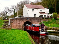Staffordshire and Worcestershire Canal (lesleydugmore) Tags: hydebridge kinver staffordshireandworcestershirecanal england uk britain europe canal water green grass barge boar narrow boat red house white steps stairs trees lock westmidlands