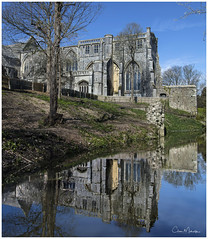 On Reflection (clive_metcalfe) Tags: christchurch dorset priory water stream reflection trees sky springtime walls stone ef24105mmf4l