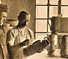 Artist applying design on ceramic steins, Hohr, Germany 1-21-19 NARA111-SC-51286 (over 16,000,000 views Thanks) Tags: stoneware hohrgermany ww1 worldwari americanoccupation germany german 1919 ceramics pottery