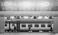 TRAVELERS (Jeton Bajrami) Tags: travel travelers trains station milanocentrale milano lombardia perfect art 2019 blackandwhite noiretblanc light indoor outdoor sony alpha a7ii a7mkii mk2