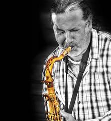 (daystar297) Tags: portrait musician music jazz blues performance sax saxophone musicalintrument horn selectivecolor manipulation bnw bw photoshop nikon passion emotion photomanipulation
