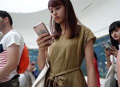 Appreciating art (theo_vermeulen) Tags: paris people phone monet art museum candid girl tourism inside orangerie