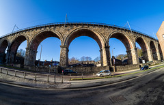Durham City. . . (CWhatPhotos) Tags: cwhatphotos olympus omd em10 mk ll digital camera photographs photograph pics pictures pic picture image images foto fotos photography artistic that have which with contain weekend away sunny day fisheye fish eye 75mm samyang wide angle view flickr durham city north east england uk bridge viaduct crossing rail train archway arch archways