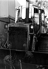 Caterpillar (MikeOB64) Tags: pentax me super ilford fp4 rust tractor bulldozer 35mm