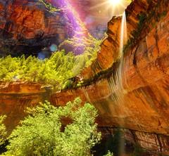 ricordati ... (Gio_guarda_le_stelle) Tags: waterfall zion sun rainbow i 4 trees usa dreamland landscape sunbeam