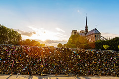 Sunset at Notre Dame de Paris (Melanie Alexandra Photography) Tags: paris france parisphotography notredame cathedral architecture love locks bridge francophile