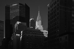 Chrysler Building in Late Afternoon Sun (infrared) (dr_marvel) Tags: sun ir infrared blackandwhite nyc newyork chryslerbuilding skyscraper tower offices highrise tall downtown building lateafternoon afternoon