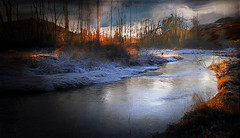 Winter Morning At The River (jarr1520) Tags: sky clouds morning dawn sunrise landscape composite textured stream river water reflections riverbank trees forest snow fog