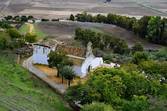 Village Church (Jocelyn777) Tags: landscape green trees foliage autumn architecture buildings church view vista countryside villages towns historictowns carmona andalucia spain travel field