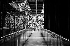 Intriguing museum (Eziah photography) Tags: black white bw museum architecture mucem marseille contrast light shadow perspective city discover
