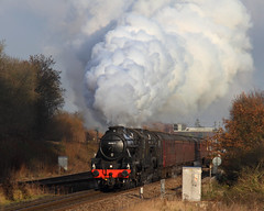 Full Steam Ahead (Treflyn) Tags: full steam ahead lms stanier black 5 44871 45407 double head ipswich winchester cathedralsexpress charter battledown flyover worting junction near basingstoke