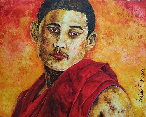 Buddhist Monk.... Watercolour