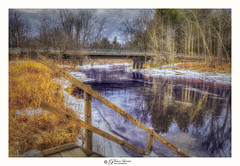 Walk in for a dip. (Pearce Levrais Photography) Tags: river frozen ice wood walkway stairs landscape tree trees forest bridge road plant grass canon hdr explore nh newhampshire sky cloud reflection