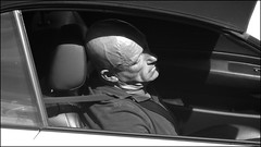 asleep (steeedm) Tags: asleep sleeping car driver sunlight head bald blackandwhite bw