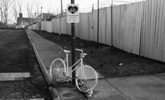 Ghost Bike - Red Hook (neilsonabeel) Tags: leicam6 leica film analogue blackandwhite bike ghostbike redhook brooklyn newyorkcity urban bicycle