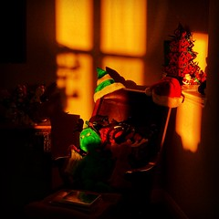 Holiday warmth (Paul Gaither Photography) Tags: christmas holidays decorations sunset warm warmth christmasdecorations warmglow grinch santa hat holidaydecorations golden glow goldenglow sunsetglow