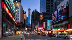 Broadway Blue (20190210-DSC04712) (Michael.Lee.Pics.NYC) Tags: newyork broadway timessquare street signs advertising billboards theater centralparktower construction architecture cityscape morning dawn bluehour sony a7rm2 zeissloxia21mmf28