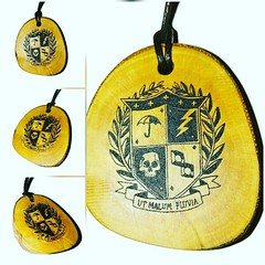 Umbrella Academy Coat of Arms Crest Engraved Wooden Necklace #UmbrellaAcademy Retrosheep.com (RetrosheepCharms) Tags: umbrella academy coat arms crest engraved wooden necklace umbrellaacademy retrosheepcom